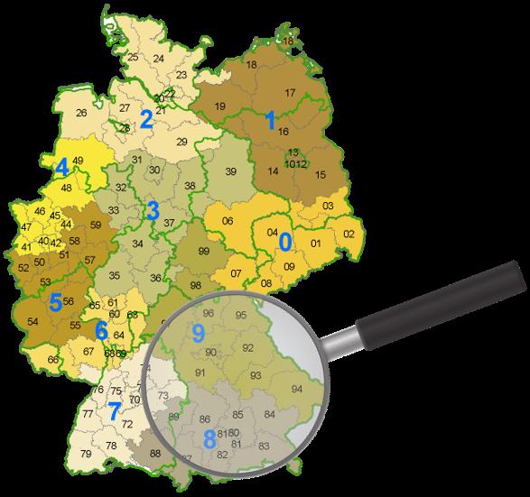 Deutschland Postleitzahlgebiet 8 und 9